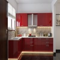 tủ bếp chữ l màu đỏ