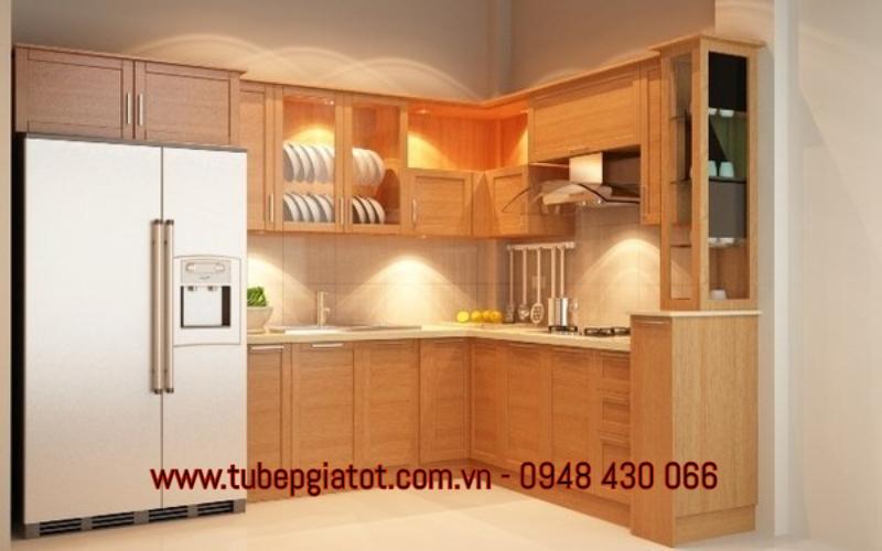 mẫu tủ bếp gỗ tự nhiên rẻ đẹp