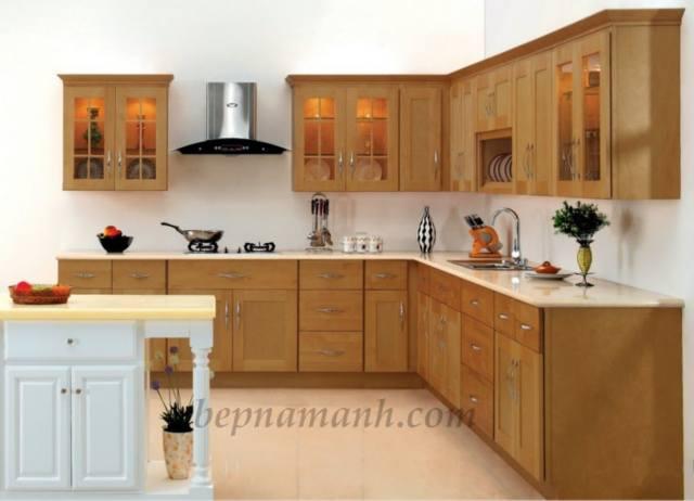 Tủ bếp treo tường gỗ tự nhiên thiết kế hiện đại